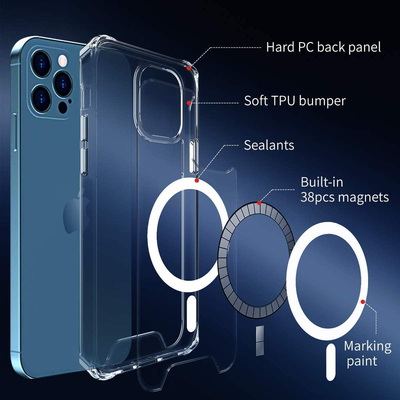 MagSafe Case for iPhone 12 iPhone 11 Anti Drop Crystal Clear Impact Protection Cover