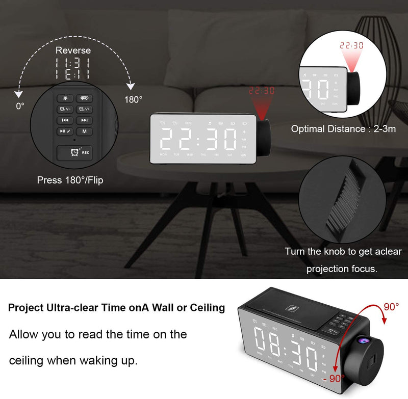 ROBOQi Bluetooth Speaker H1 with Time Projection Wireless Charging Clock FM Radio DIY Alarm