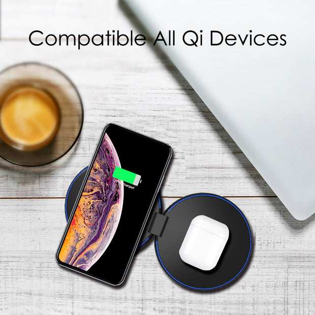 Flip Pad- Foldable Dual 20W Fast Qi Wireless Charger