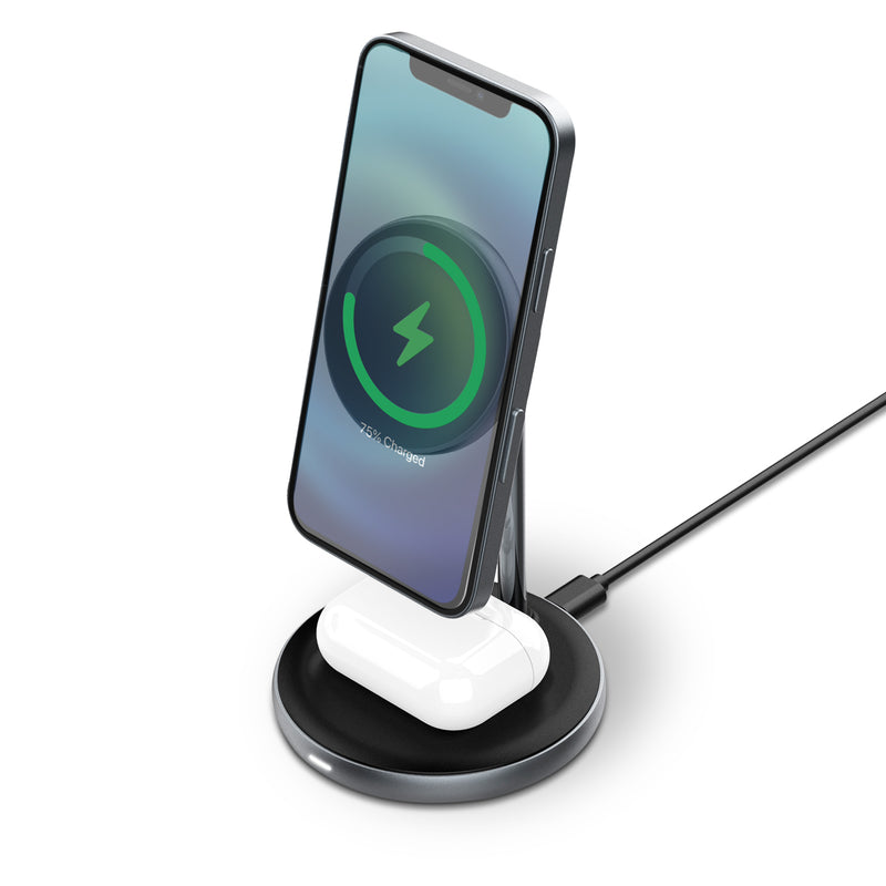 ROBOQi 2-in-1 Magnetic Charging Stand for iPhone 12 AirPods Pro