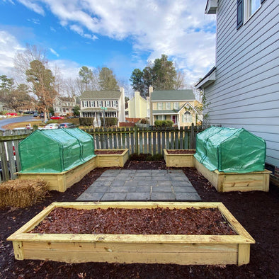 @Carolina_Garden_Coaching (IM) Custom Backyard Raised Garden Beds using Eagle Peak Mini Greenhouse as Winter Covers