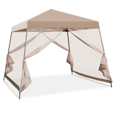 EAGLE PEAK 10'x10' Slant Leg Easy Setup Pop Up Canopy Tent with Mosquito Netting 64 sqft of Shade
