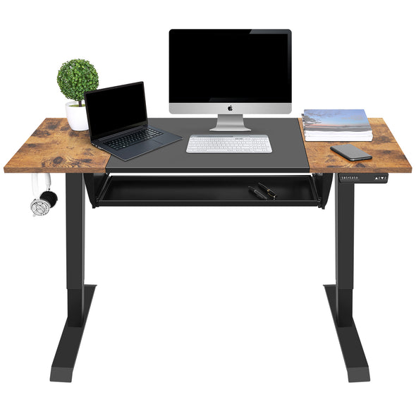 EAGLE PEAK Electric Adjustable Height Standing Desk with Keyboard Tray 48 x 24 Inch Sit or Stand Up Desk Computer Workstation with Memory Controller (Black and Rustic Brown Top/ Black Frame)