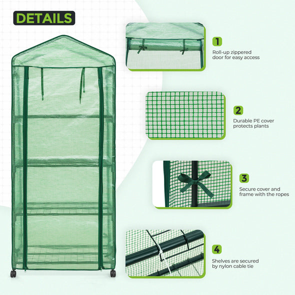 EAGLE PEAK 28'' x 19'' x 65'' Mini Greenhouse w/Casters, 4-Tier Portable Rack Shelves