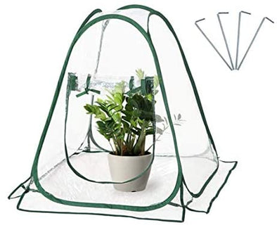 "EAGLE PEAK Mini Pop Up Greenhouse 27"" x 27"" x 31"" Portable Small PVC Gardening Flowerpot Cover Backyard Plant Flower Shelter Grow House for Outdoor Indoor"