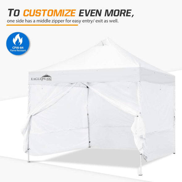 EAGLE PEAK Full Wrap Sidewall for Commercial Canopy Tent Dual Mesh or Shade-Wall Option w/ Zipper Entry