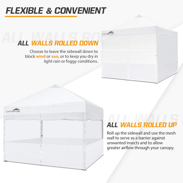 EAGLE PEAK Full Wrap Sidewall for Commercial Canopy Tent Dual Mesh or Shade-Wall w/ Zipper Entry