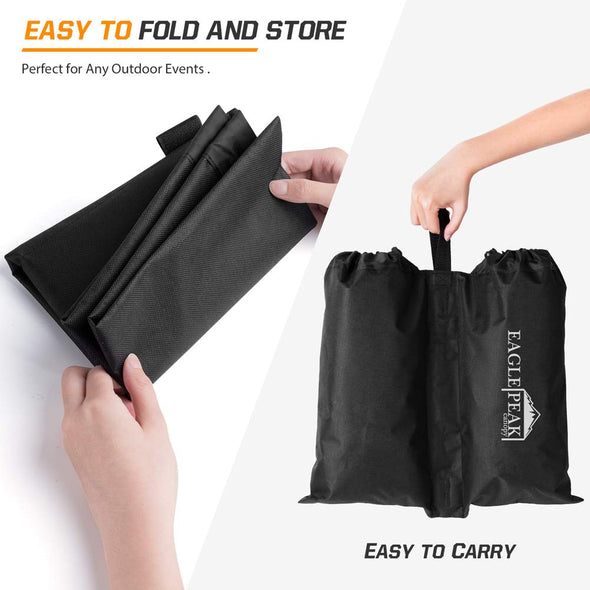 EAGLE PEAK Weight Bag Set for Use with Pop Up Canopy Tent - 4pcs Per Pack (Black)