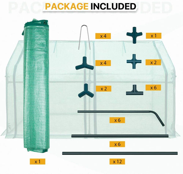 EAGLE PEAK Mini Garden Portable Greenhouse 71'' x 36'' x 36'' with Zipper Opening for Indoor Or Outdoor Plants