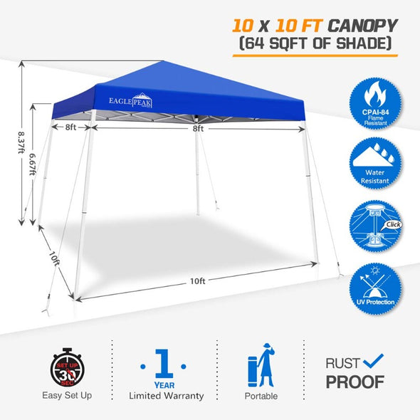 EAGLE PEAK 10' x 10' Slant Leg Pop-up Canopy w/ Easy Peak Single Person Setup (64 sqft of Shade)
