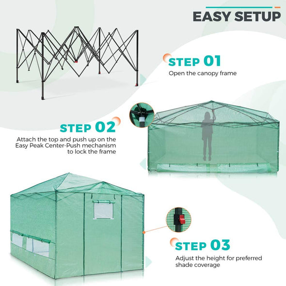 EAGLE PEAK Easy Fast Setup Instant 12'x8' Walk-in Indoor/Outdoor Greenhouse