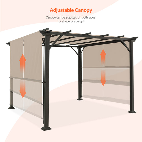 Eagle Peak 10 Ft x 10 Ft Metal Pergola with Canopy