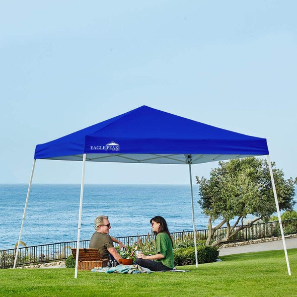 EAGLE PEAK 10' x 10' Slant Leg Pop-up Canopy w/ Easy Peak One Person Setup (64 sqft of Shade)