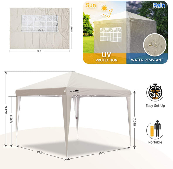 EAGLE PEAK 10' x10' Pop Up Canopy Tent with 4 Side Walls, Fully Waterproof, Easy Set up Shelter with 100 Square Feet of Shade (Cream)