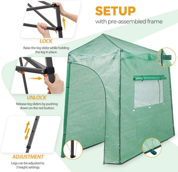 EAGLE PEAK Easy Fast Setup Instant 9'x4' Walk-in Indoor/Outdoor Greenhouse