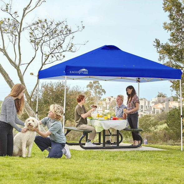 EAGLE PEAK 10'x10' Straight Leg Pop Up Canopy w/ Easy Peak One Person Setup (100 sqft of Shade)
