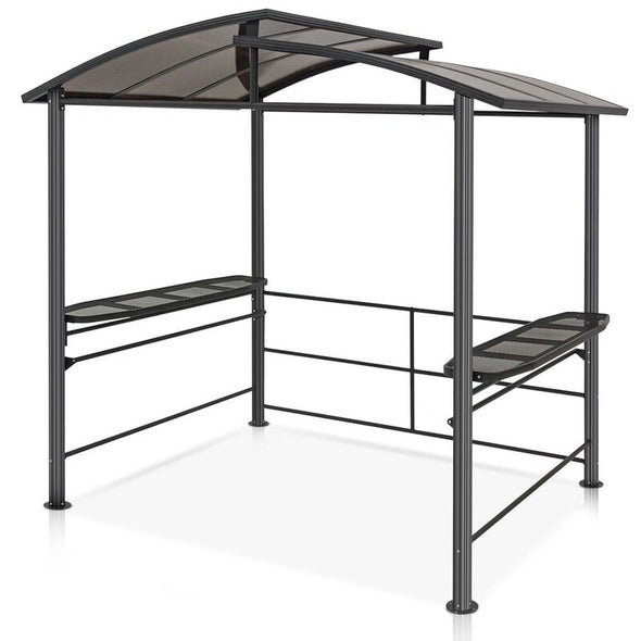 EAGLE PEAK 8'x5' BBQ Grill Gazebo Outdoor Backyard Steel Frame Double-Tier Polycarbonate Hard Top Canopy with Shelves Serving Tables