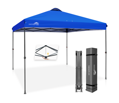 EAGLE PEAK 10' x 10' Straight Leg Pop Up Canopy Tent Instant Outdoor Canopy Easy Single Person Set-up Folding Shelter w/Infinite Adjustable Legs and 100 Square Feet of Shade
