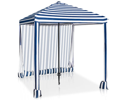 EAGLE PEAK 6' x 6' Portable Umbrella Canopy Cabana Easy Single Person Set-up Beach, Park, Pool, Backyard Instant Shelter w/Privacy Sunwall
