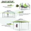 EAGLE PEAK 13' x 13' Straight Leg Pop Up Canopy Tent Instant Outdoor Canopy Easy Set-up Folding Shelter w/Auto Extending Eaves