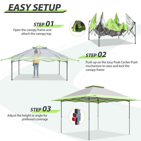 EAGLE PEAK 13'x13' Canopy Tent w/ Easy Peak Single Person Setup and Automatic Extending Eaves