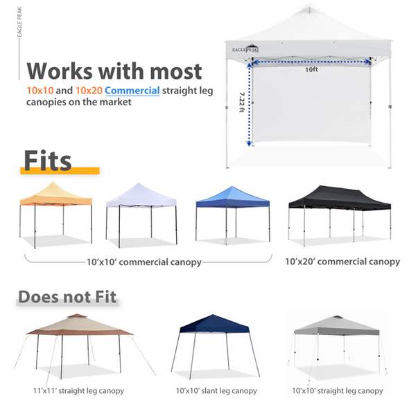 EAGLE PEAK Canopy SunWall for 10'x10' Commercial Pop Up Canopy, 1 Sidewall