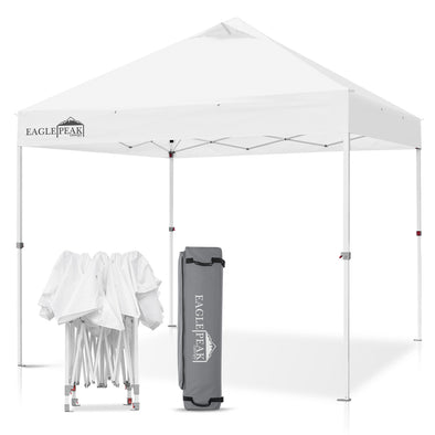 EAGLE PEAK 10' x 10' Heavy Duty Industrial Commercial Canopy Tent with 100 Sqft of Shade (White)