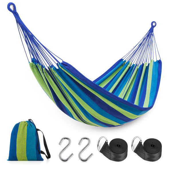 EAGLE PEAK Brazilian Double Hammock Two Person Hanging Camping Bed w/Carry Bag for Patio Backyard Garden Hiking Outdoor and Indoor, Soft Woven Cotton Fabric