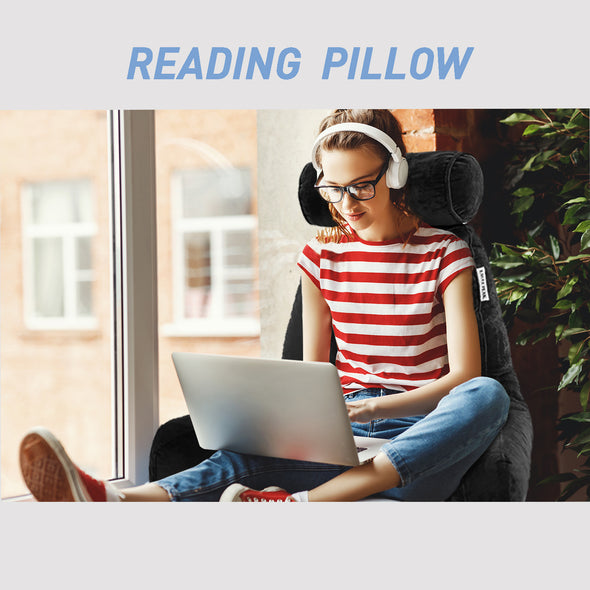 EAGLE PEAK Large Shredded Foam Reading Pillow with Neck Roll, Bed Rest Pillow with Arms and Pockets, Back Support Cushion