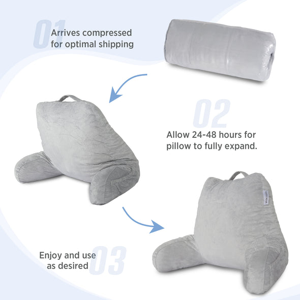 EAGLE PEAK Medium Shredded Memory Foam Reading Pillow, Bed Rest Pillow with Arms and Pockets, Removable Cover, Back Support Cushion