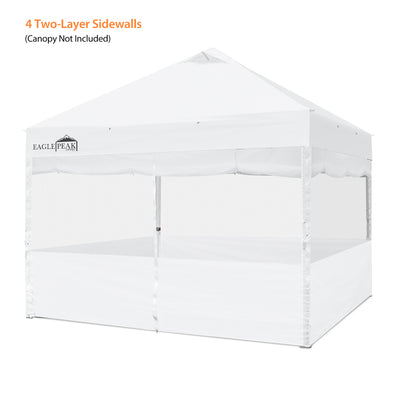 EAGLE PEAK Full Sidewall Accessory Kit for 10'x10' Commercial Canopy, 4 2-Layer Removable Zipper End Sidewalls