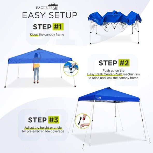 EAGLE PEAK Easy Setup 11' x 11' Slant Leg Pop Up Canopy Tent with 81 Sqft of Shade