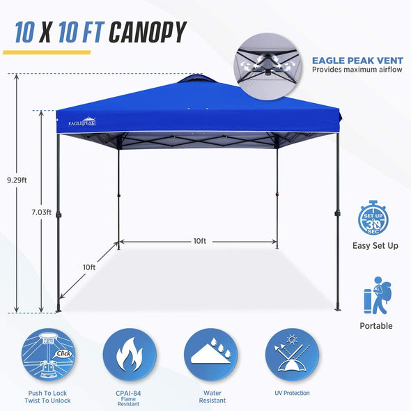 EAGLE PEAK 10' x 10' Straight Leg Pop Up Canopy Tent w/ Infinite Adjustable Legs and 100 Sqft of Shade