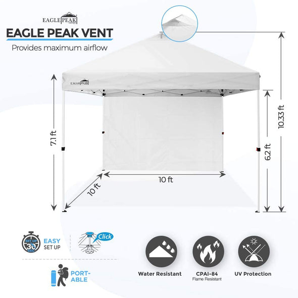 EAGLE PEAK 10' x 10' Professional MarketPlace Pop Up Canopy Tent Instant Outdoor Canopy Easy Single Person Set-up Folding Shelter w/Zipper Attach Sunwall and 100 Sq Ft of Shade