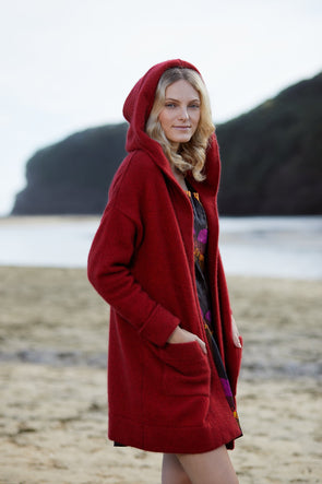 Red Possum Merino Oversize Hood Jacket Possum Merino