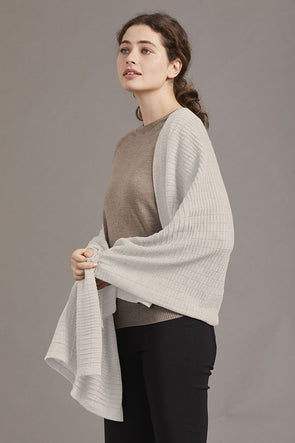 Alabaster Fine Merino Wool Textured Shawl