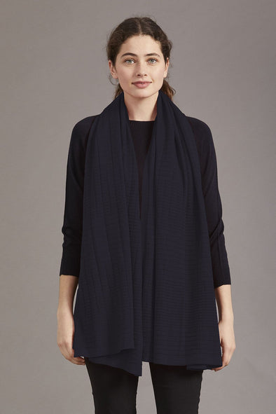 Navy Blue Fine Merino Wool Textured Shawl