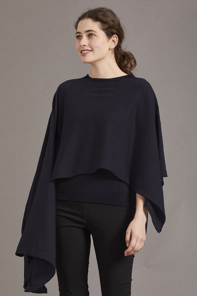Navy Blue Fine Merino Wrap