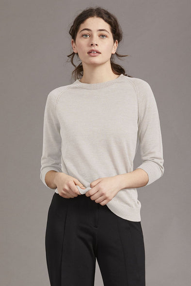 Alabaster Merino Wool 3/4 Sleeve Ladies Crew