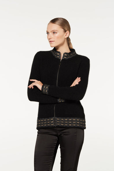 Black Wave Trim Zip Cardigan Possum Merino