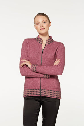 Heather Wave Trim Zip Cardigan Possum Merino