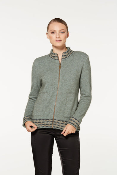 Mint Wave Trim Zip Cardigan Possum Merino
