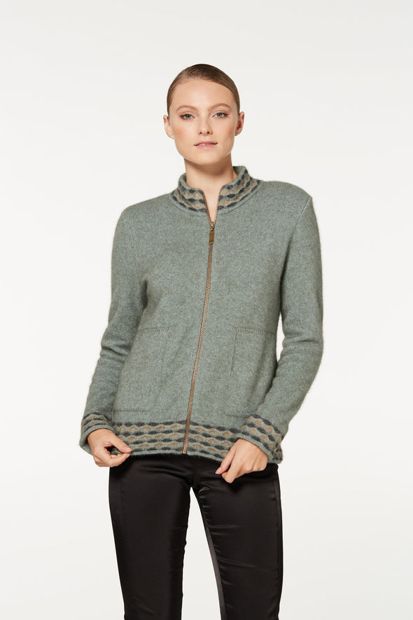 Mint Wave Trim Zip Cardigan
