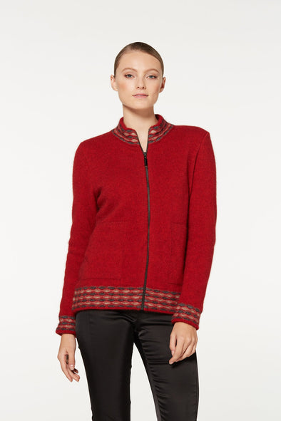 Red Wave Trim Zip Cardigan Possum Merino