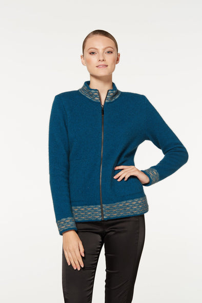 Teal Wave Trim Zip Cardigan