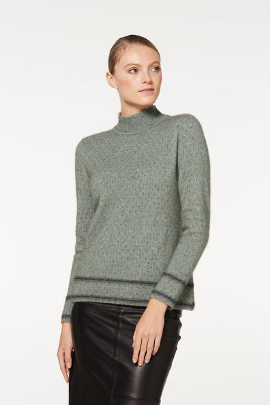 Mint Two Tone Turtle Neck Possum Merino