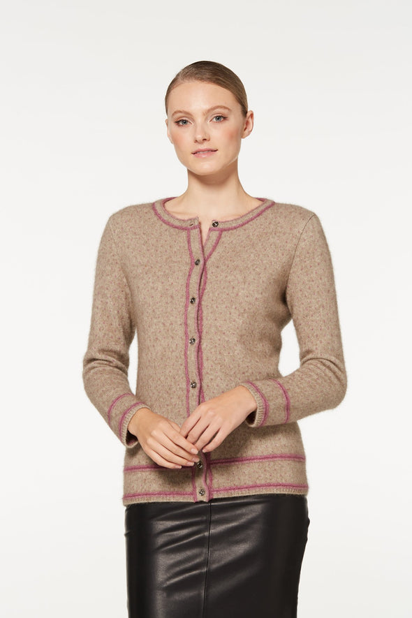 Mocha Two Tone Button Cardigan Possum Merino