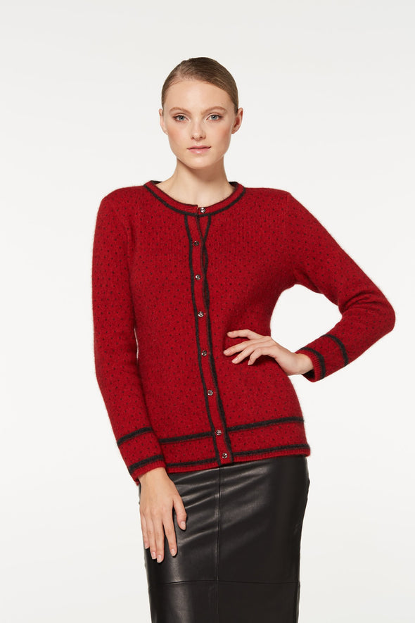 Red Two Tone Button Cardigan