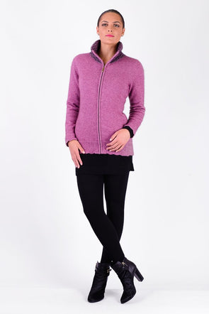 CLEARANCE  -LAST ONE - XL - Heather Possum Zip With Contrast Collar