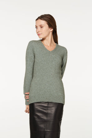 Mint Rib Detail V-Neck Jumper Possum Merino